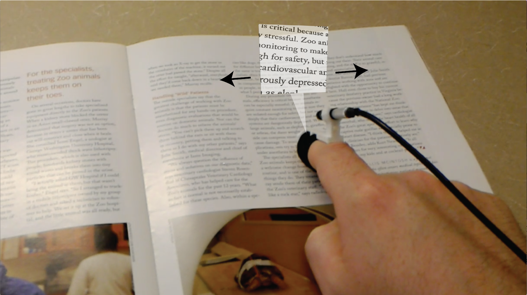 Augumented reality magnification of a magazine document using a finger-mounted camera